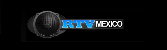 Logo: bocina negra con letras azules que dicen RTV y de color blanco México.